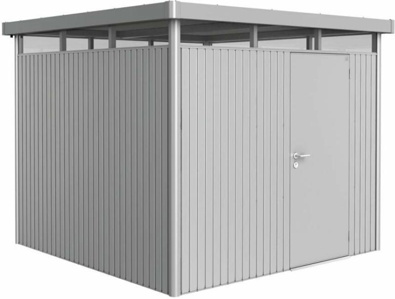 "Gerätehaus ""HighLine H4"", 275x275x222 cm, Standardtür 275x275x222 cm | silber-metallic  | Standardtür"
