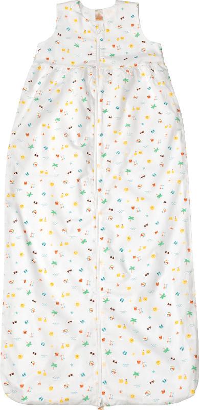 PUSBLU Kinder Schlafsack 0,5 TOG, 90 cm, in Bio-Baumwolle, weiß, bunt
