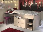 Conforama Bett Büro MILKY 90x200cm holz