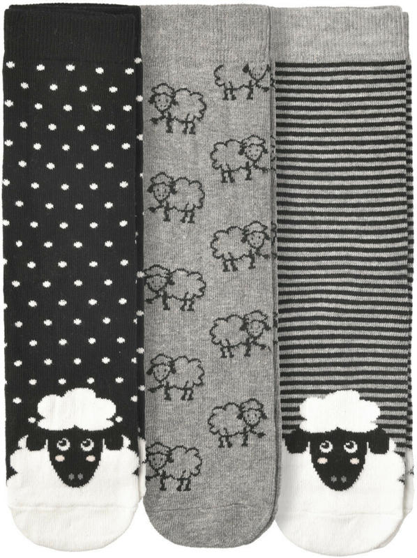 3 Paar Damen Socken mit Schaf-Motiven (Nur online)