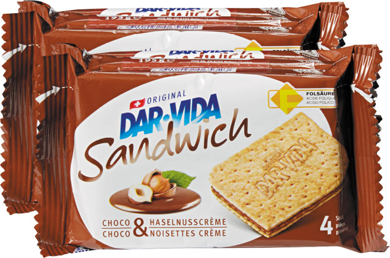 Hug Dar-Vida Sandwich Choco & Haselnusscrème, 2 x 195 g