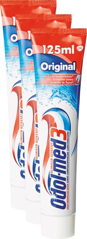 Dentifrice Odol-med3, Original, 3 x 125 ml
