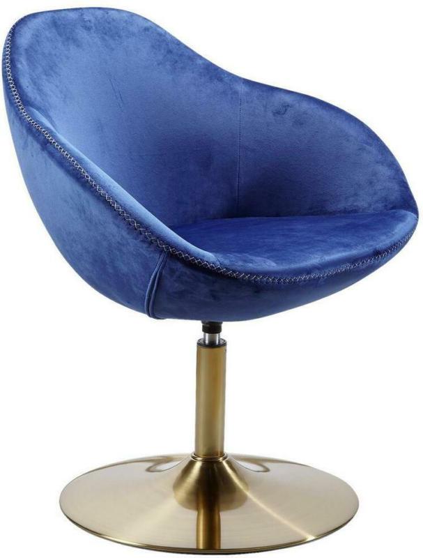 Polsterstuhl Sarin Samtbezug Blau mit Standfuß Gold