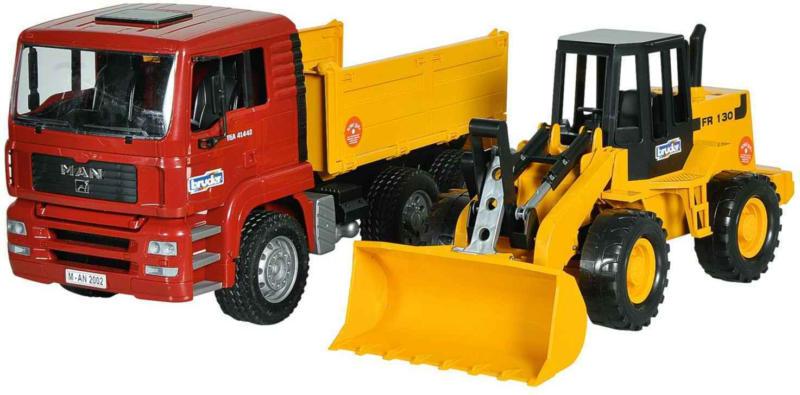 Bruder MAN TGA Kipplastwagen mit Gelenkradlader FR130 -