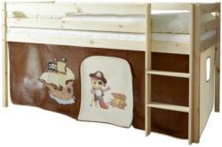 Spielbett 90/200 cm in Creme, Kieferfarben, Dunkelbraun