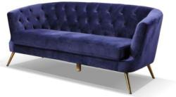 Dreisitzer-Sofa Lita B: 183 cm Samt Blau