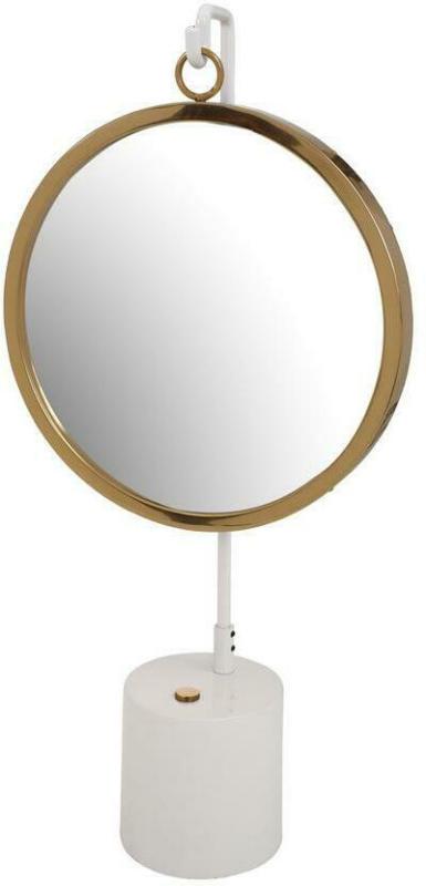 Tischspiegel Eleganca Weiß/Gold H: 65 cm