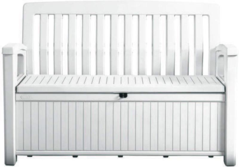 Gartenbank Kunststoff 2-Sitzer Patio Bench White mit Truhe