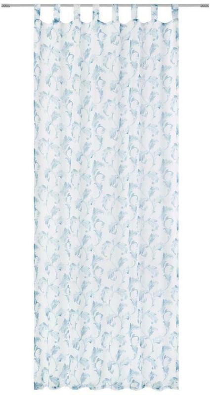 Vorhang mit Schlaufen und Band Mona B: 135cm, Türkis/Blau