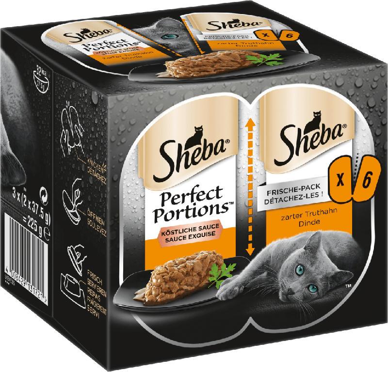 Sheba Nassfutter für Katzen, Perfect Portions Sauce mit Truthahn (6 x 37,5 g)