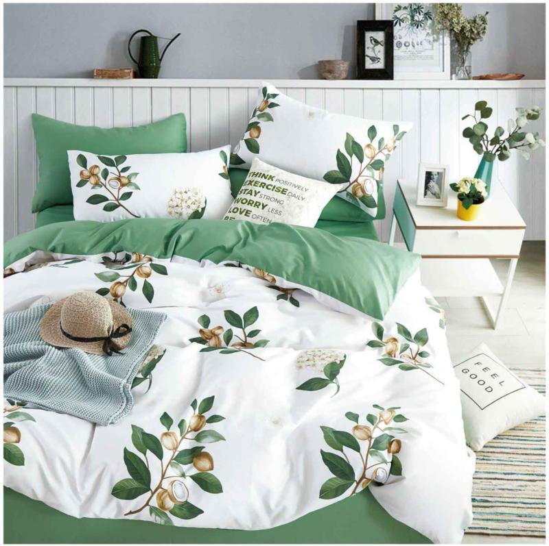 Bettwäsche grün-weiss mit Zweigen -