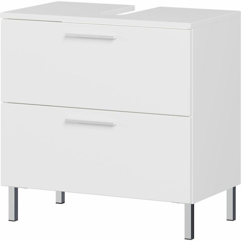 Waschbeckenunterschrank, weiß, Supermatt, 2 Schubladen, 60x60x35 cm