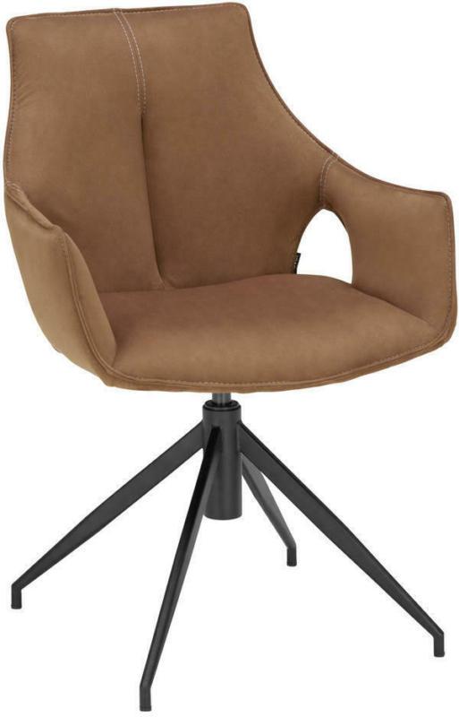 Stuhl in Metall, Textil Braun, Schwarz
