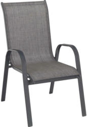 Stapelsessel in Metall, Textil Anthrazit, Braun