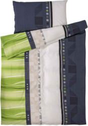 Bettwäsche mit grün-grauem Muster -  (Preis für kleinste Grösse)