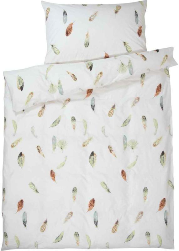 Bettwäsche weiss mit Federn -  (Preis für kleinste Grösse)