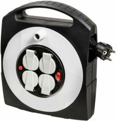 """Mini-Kabeltrommel """"Primera-Line"""", Kabelbox-S 4-fach, 10 m Kabel, Schalter, schwarz/grau, Innen"""