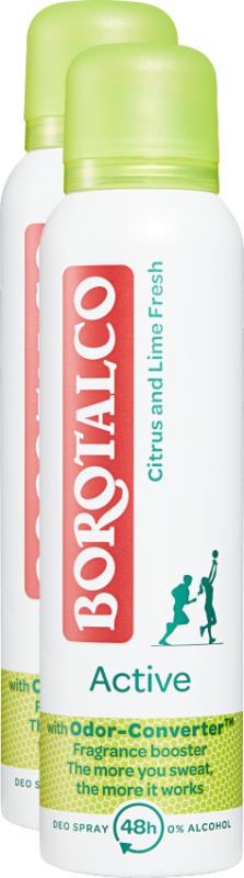 Deodorante Spray Active Borotalco , Citrus & Lime Fresh, 2 x 150 ml
