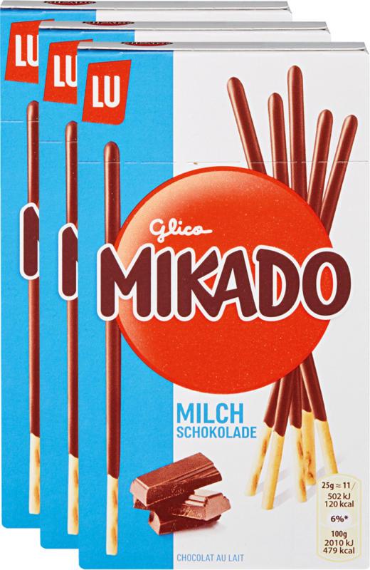 Mikado Lu, Chocolat au lait, 3 x 75 g