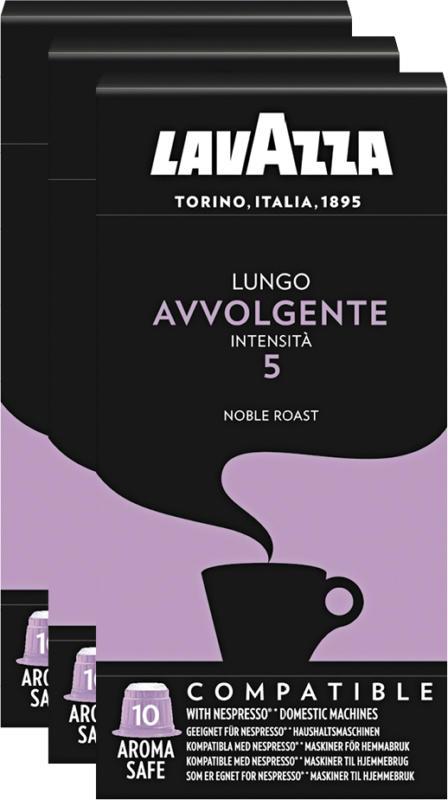 Capsules de café Lungo Avvolgente Lavazza, compatibles avec les machines Nespresso®, 3 x 10 capsules