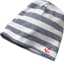 ALANA Kinder Mütze, Gr. 50/51, in Bio-Baumwolle und Elasthan, blau, weiß