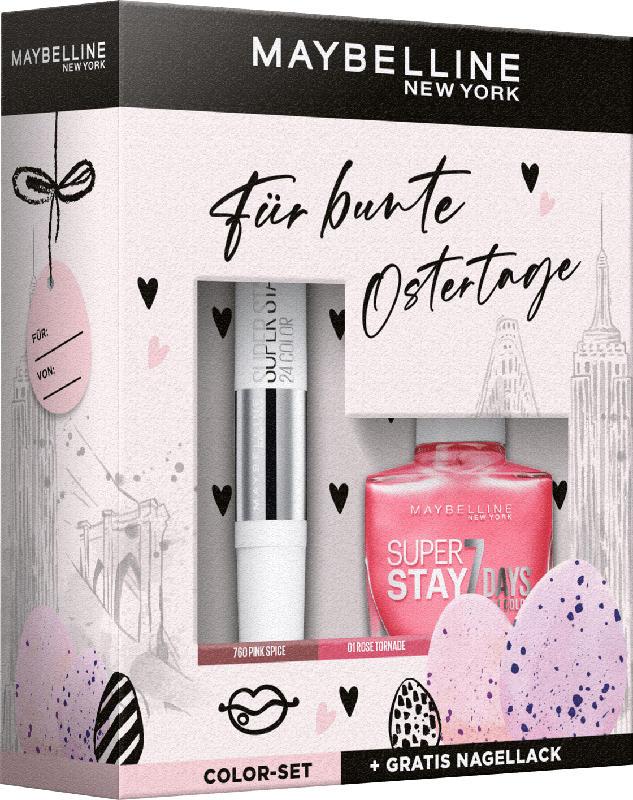 Maybelline New York Oster Geschenk Set Super Stay 24H Lippenstift 760 + Gratis Super Stay Nagellack 01