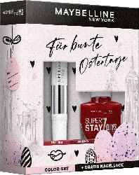 Maybelline New York Oster Geschenk Set Super Stay 24H Lippenstift 560 + Gratis Super Stay Nagellack 501