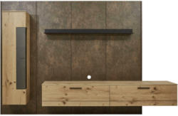 Wohnwand 307/213,2/47,2-55,2 cm in Anthrazit, Eichefarben, Rostfarben