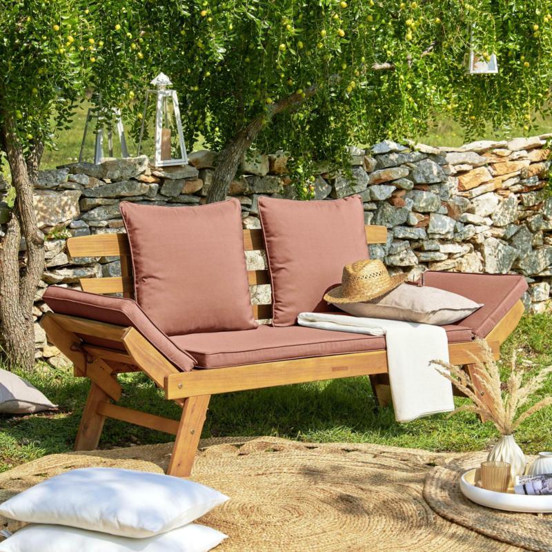 Gartenbank aus Akazie massiv mit Sitzkissen