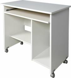 """Computertisch """"Work"""", mit Laufrollen und Tastaturauszug, 90x72x48 cm, weiß"""