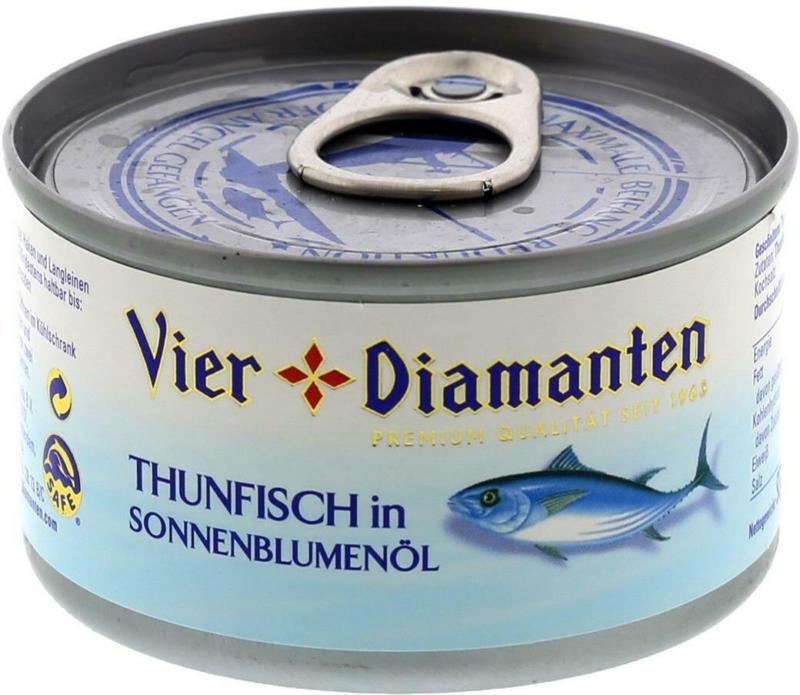 Vier Diamanten Thunfisch in Öl