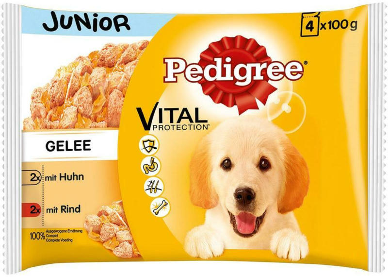 Pedigree 4er Pack Huhn & Rind in Gelee Junior