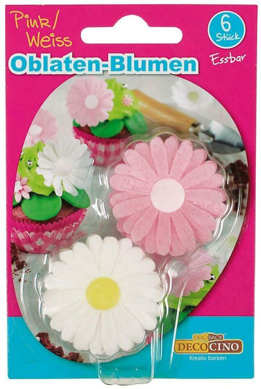 Decocino Oblaten Blumen Pink/Weiß