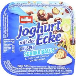 Müller Joghurt mit der Ecke Vanille mit Schoko-Balls