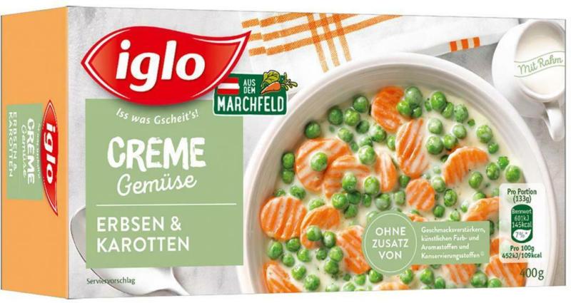 Iglo Cremegemüse Erbsen & Karotten