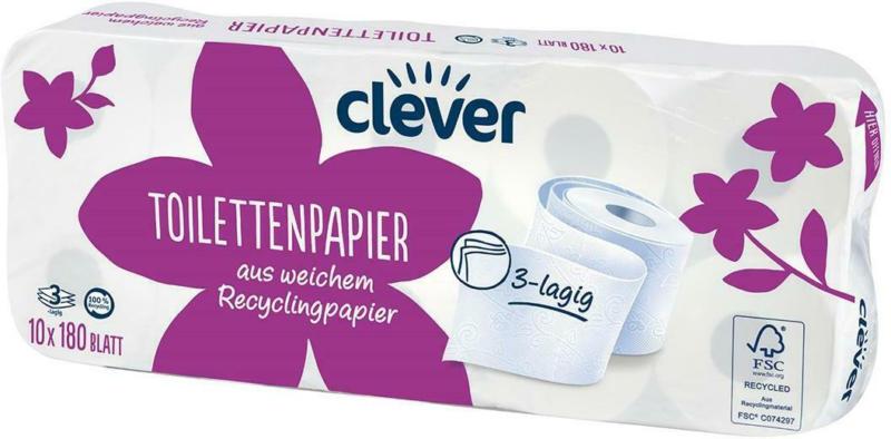 Clever Toilettenpapier 3-lagig