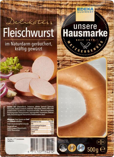 EDEKA Südwest unsere Hausmarke Delikatess Fleischwurst