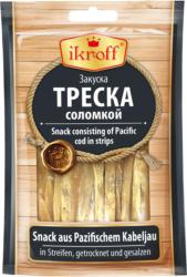 Snack aus Pazifischem Kabelajau in Streifen, getrocknet und gesalzen