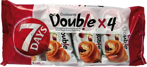 Double Croissants mit Vanillecremefüllung & Sauerkirschfruchtfüllung