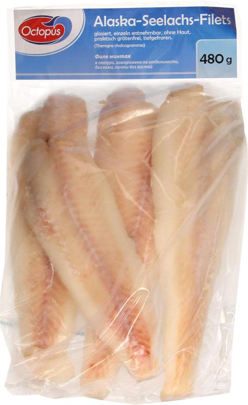 Alaska-Seelachs-Filets, glasiert, einzeln entnehmbar, ohne Haut, praktisch grätenfrei, tiefgefroren