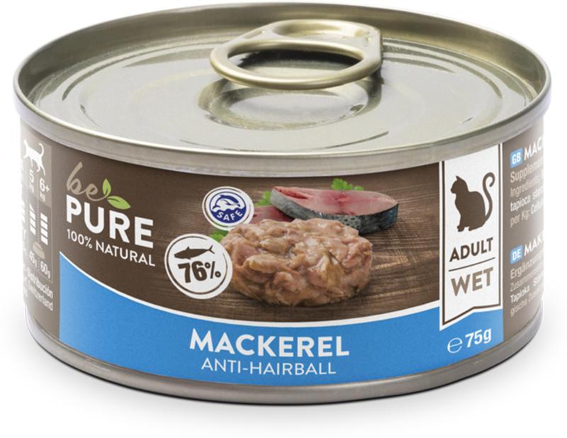 bePure Katzennassfutter Adult Makrele & Brühe 75g