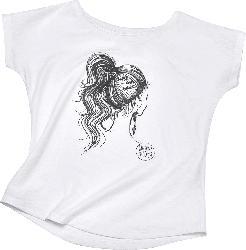 Langhaarmädchen T-Shirt, Gr. L, in Bio-Baumwolle, weiß, für Damen