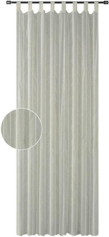 Vorhang mit Schlaufen und Band Rebecca B: 140cm, Grau/Silber