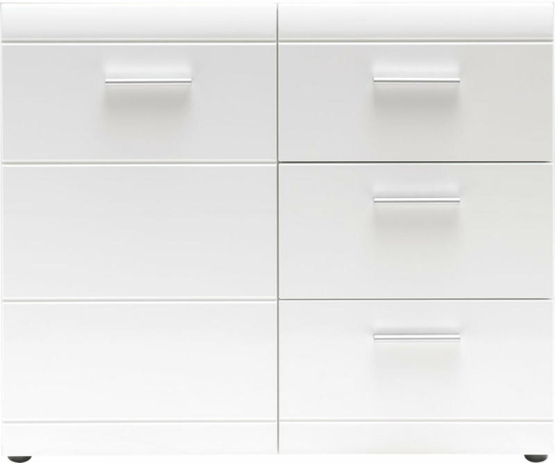 """Kommode """"Adison"""", Fronten in Hochglanz mit Rillenfräsung, 96x86x40 cm, weiß"""