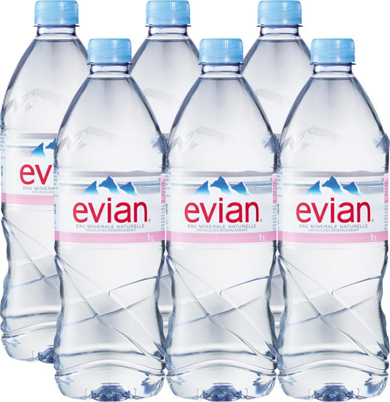 Eau minérale Evian, non gazeuse, 6 x 1 litre