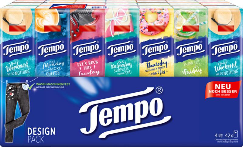 Mouchoirs en papier Tempo, Design Pack, 42 x 10 pièces