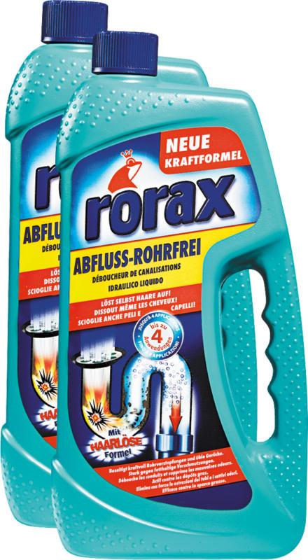 Detergente per scarichi Rorax, 2 x 1 litro