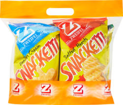 Zweifel Snacketti, assortite: Dancer Cream, Salted Hearts, Paprika Shells, Bacon Strips, 75 g cadauno, 1 sacchetto