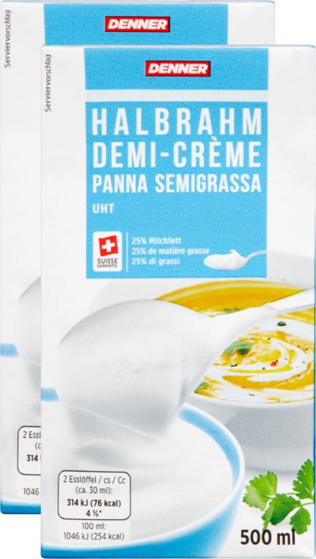 Demi-crème Denner, UHT, 25% de matière grasse, 2 x 500 ml