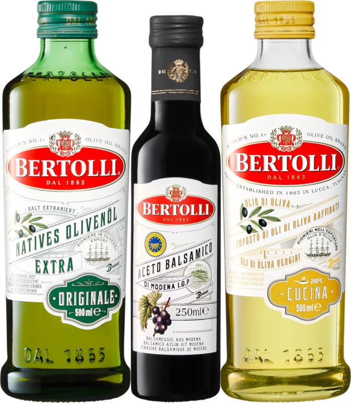 Huile d'olive et Aceto Balsamico Bertolli, Huile d'olive Originale Extra Vergine, 500 ml, Aceto Balsamico di Modena IGP, 250 ml, Huile d'olive Cucina, 500 ml, 1 paquet